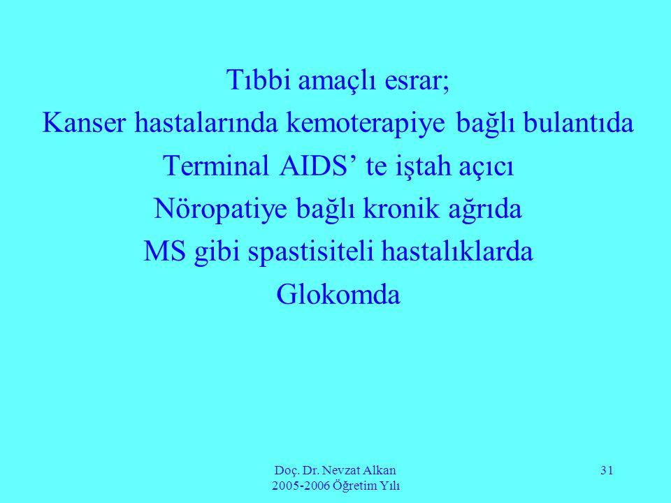 Doç. Dr. Nevzat Alkan 2005-2006 Öğretim Yılı 31 Tıbbi amaçlı esrar; Kanser hastalarında kemoterapiye bağlı bulantıda Terminal AIDS' te iştah açıcı Nör