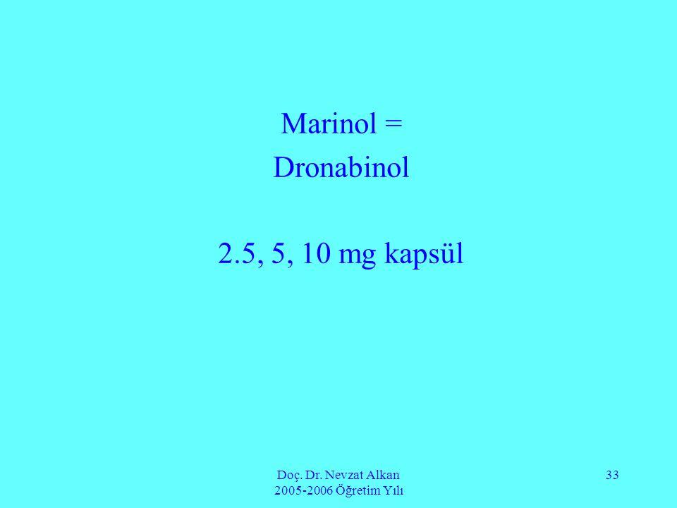 Doç. Dr. Nevzat Alkan 2005-2006 Öğretim Yılı 33 Marinol = Dronabinol 2.5, 5, 10 mg kapsül