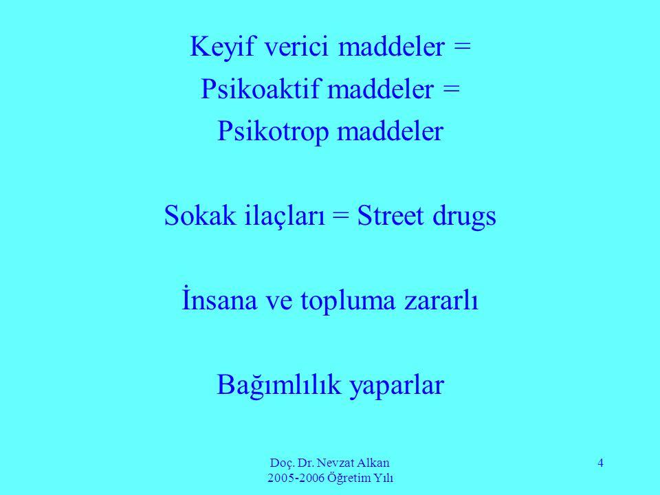 Doç. Dr. Nevzat Alkan 2005-2006 Öğretim Yılı 4 Keyif verici maddeler = Psikoaktif maddeler = Psikotrop maddeler Sokak ilaçları = Street drugs İnsana v