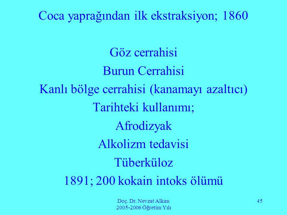 Doç. Dr. Nevzat Alkan 2005-2006 Öğretim Yılı 45 Coca yaprağından ilk ekstraksiyon; 1860 Göz cerrahisi Burun Cerrahisi Kanlı bölge cerrahisi (kanamayı