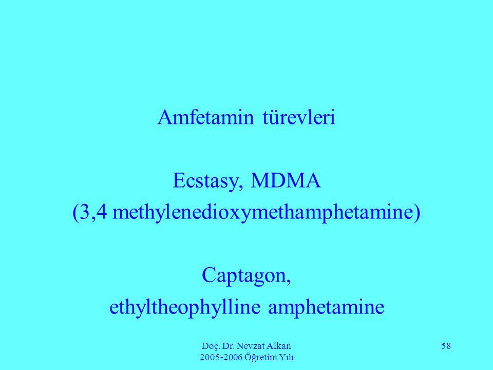Doç. Dr. Nevzat Alkan 2005-2006 Öğretim Yılı 58 Amfetamin türevleri Ecstasy, MDMA (3,4 methylenedioxymethamphetamine) Captagon, ethyltheophylline amph