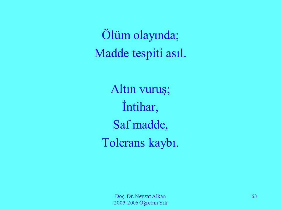 Doç. Dr. Nevzat Alkan 2005-2006 Öğretim Yılı 63 Ölüm olayında; Madde tespiti asıl. Altın vuruş; İntihar, Saf madde, Tolerans kaybı.