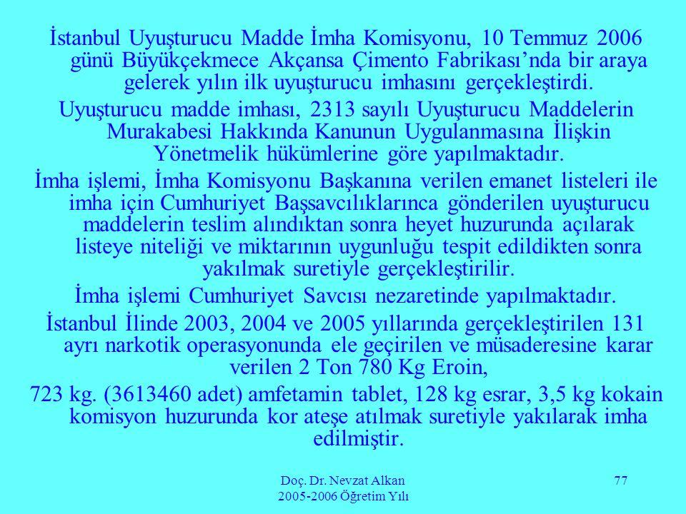 Doç. Dr. Nevzat Alkan 2005-2006 Öğretim Yılı 77 İstanbul Uyuşturucu Madde İmha Komisyonu, 10 Temmuz 2006 günü Büyükçekmece Akçansa Çimento Fabrikası'n