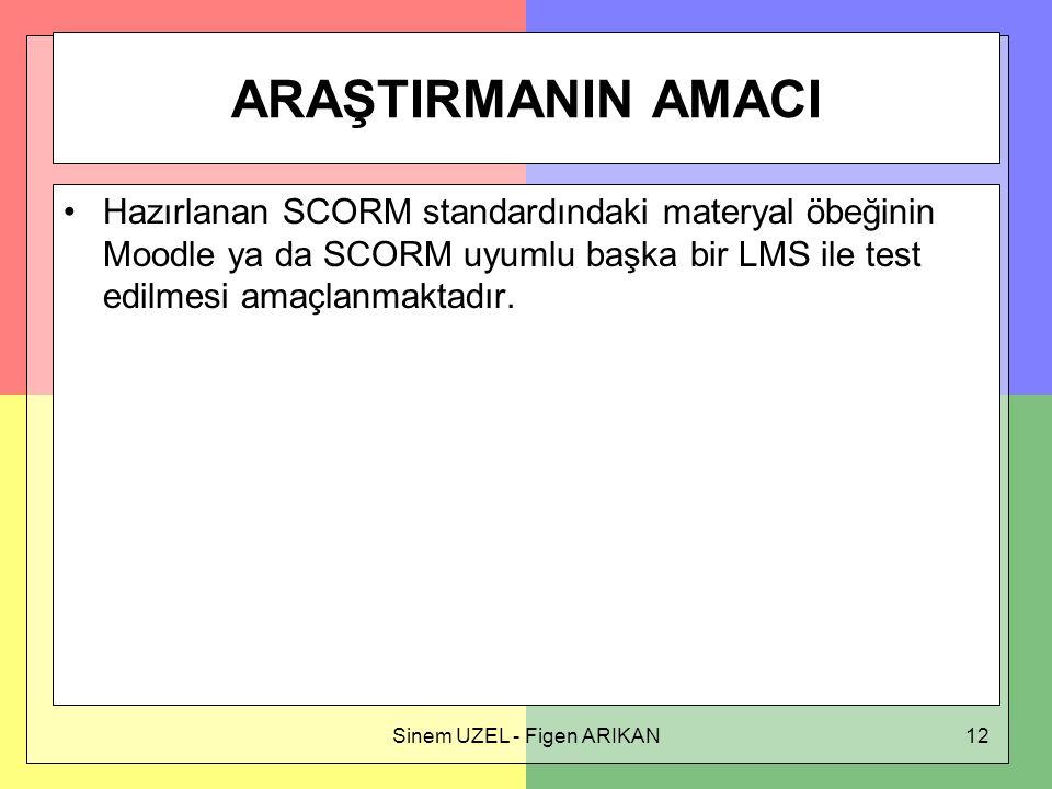 Sinem UZEL - Figen ARIKAN12 ARAŞTIRMANIN AMACI Hazırlanan SCORM standardındaki materyal öbeğinin Moodle ya da SCORM uyumlu başka bir LMS ile test edilmesi amaçlanmaktadır.