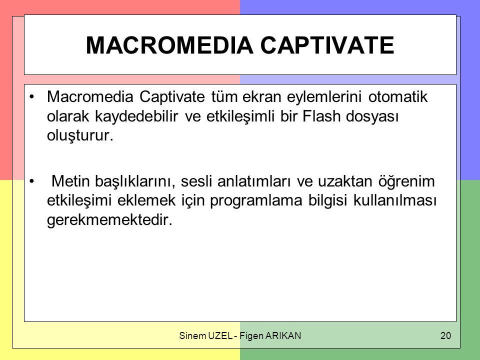 Sinem UZEL - Figen ARIKAN20 MACROMEDIA CAPTIVATE Macromedia Captivate tüm ekran eylemlerini otomatik olarak kaydedebilir ve etkileşimli bir Flash dosyası oluşturur.