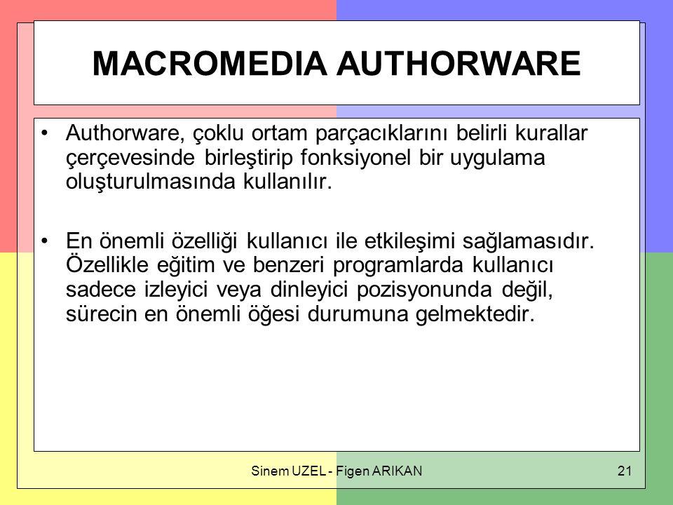 Sinem UZEL - Figen ARIKAN21 MACROMEDIA AUTHORWARE Authorware, çoklu ortam parçacıklarını belirli kurallar çerçevesinde birleştirip fonksiyonel bir uygulama oluşturulmasında kullanılır.