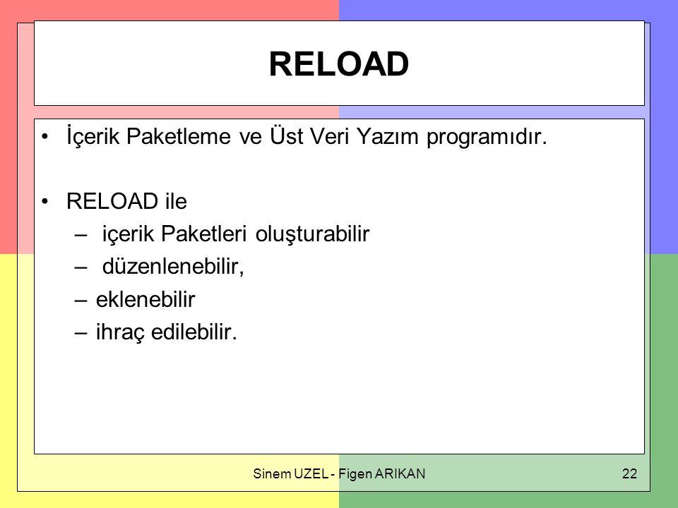Sinem UZEL - Figen ARIKAN22 RELOAD İçerik Paketleme ve Üst Veri Yazım programıdır.