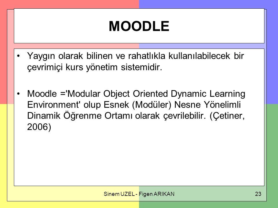 Sinem UZEL - Figen ARIKAN23 MOODLE Yaygın olarak bilinen ve rahatlıkla kullanılabilecek bir çevrimiçi kurs yönetim sistemidir.
