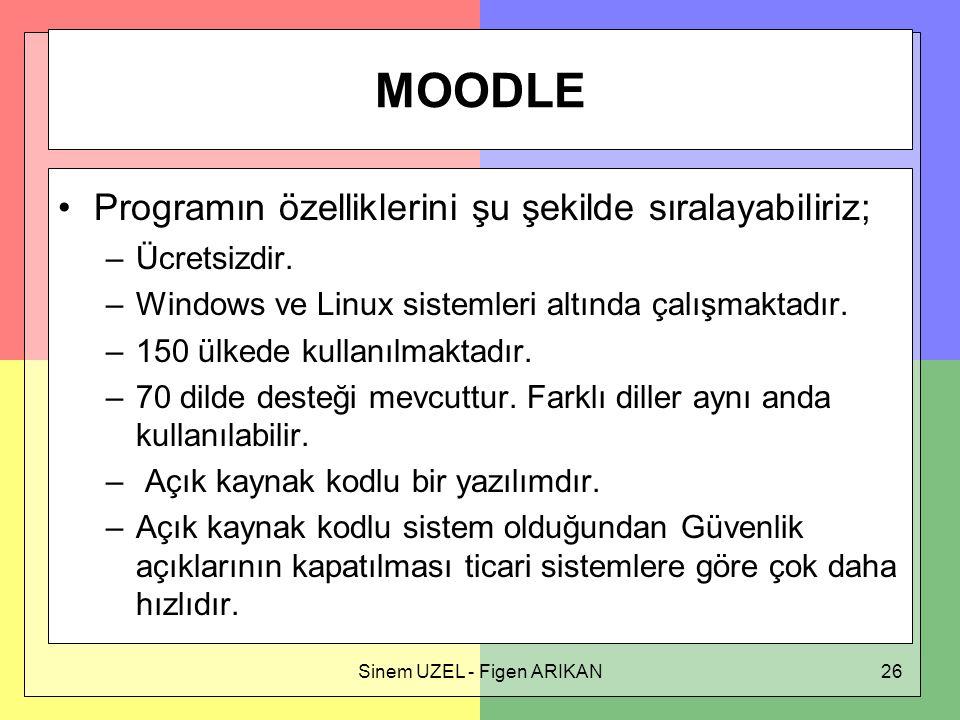 Sinem UZEL - Figen ARIKAN26 MOODLE Programın özelliklerini şu şekilde sıralayabiliriz; –Ücretsizdir.