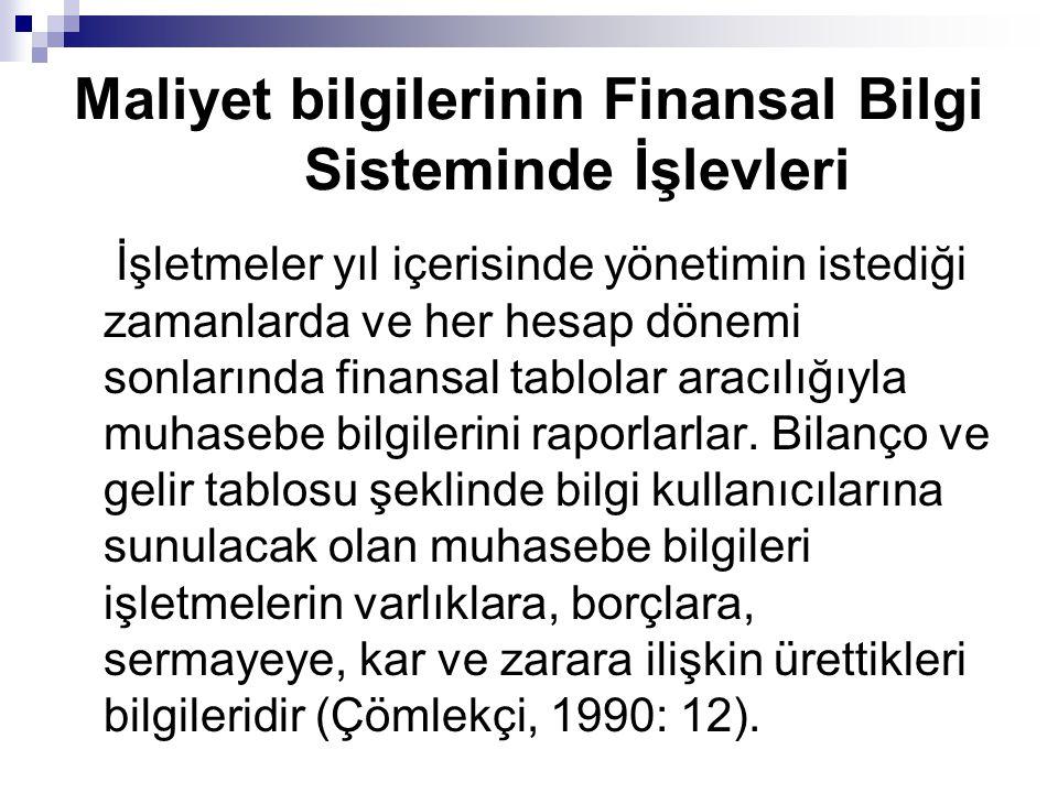 Maliyet bilgilerinin Finansal Bilgi Sisteminde İşlevleri İşletmeler yıl içerisinde yönetimin istediği zamanlarda ve her hesap dönemi sonlarında finans