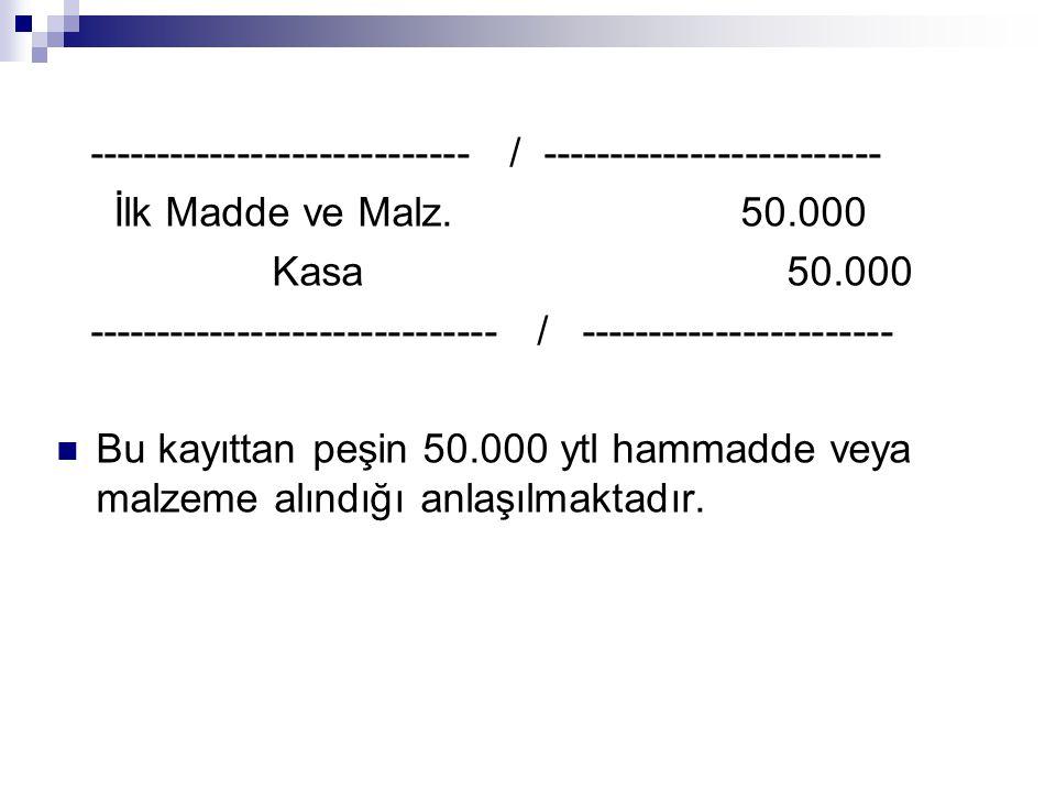 ---------------------------- / ------------------------- İlk Madde ve Malz. 50.000 Kasa 50.000 ------------------------------ / ----------------------