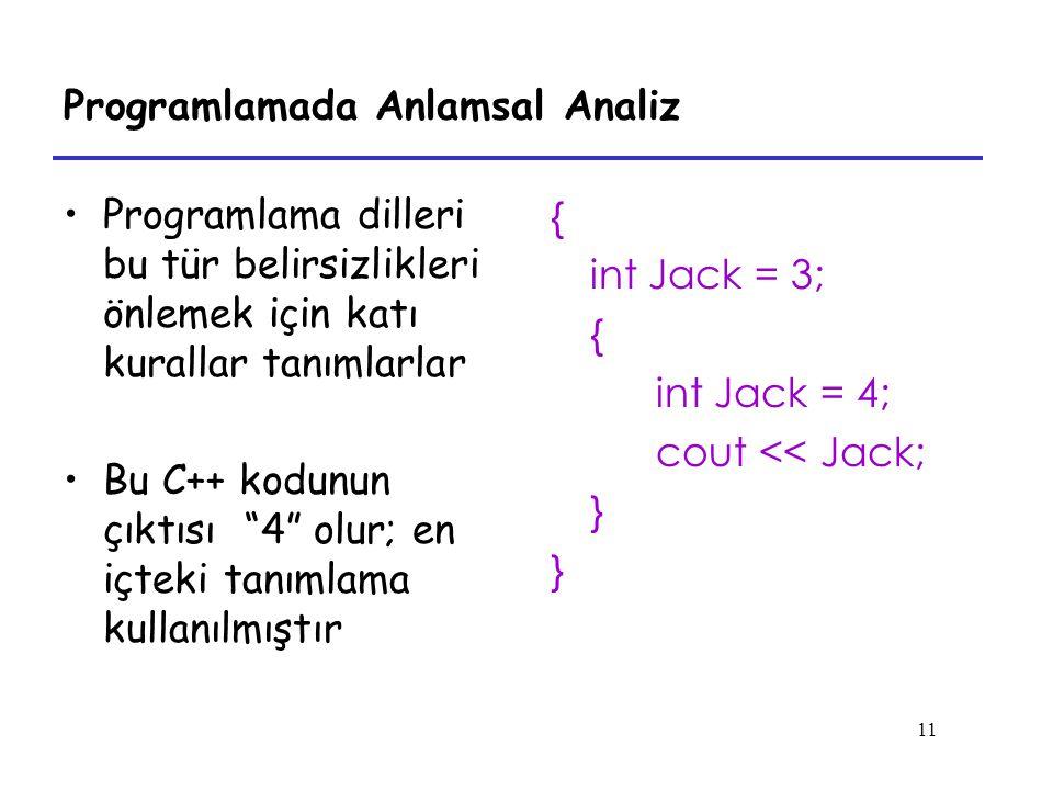 11 Programlamada Anlamsal Analiz Programlama dilleri bu tür belirsizlikleri önlemek için katı kurallar tanımlarlar Bu C++ kodunun çıktısı 4 olur; en içteki tanımlama kullanılmıştır { int Jack = 3; { int Jack = 4; cout << Jack; }
