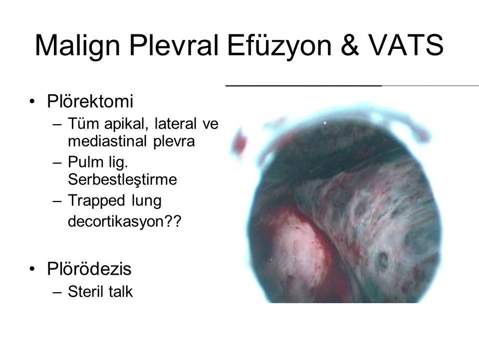 Malign Plevral Efüzyon & VATS Plörektomi –Tüm apikal, lateral ve mediastinal plevra –Pulm lig. Serbestleştirme –Trapped lung decortikasyon?? Plörödezi