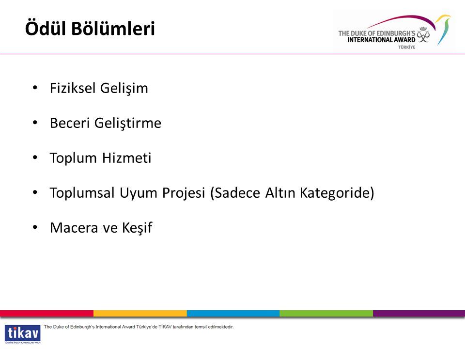 Fiziksel Gelişim Beceri Geliştirme Toplum Hizmeti Toplumsal Uyum Projesi (Sadece Altın Kategoride) Macera ve Keşif Ödül Bölümleri