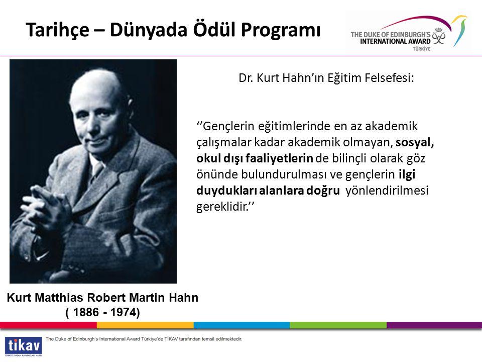Tarihçe – Dünyada Ödül Programı Kurt Matthias Robert Martin Hahn ( 1886 - 1974) Dr.