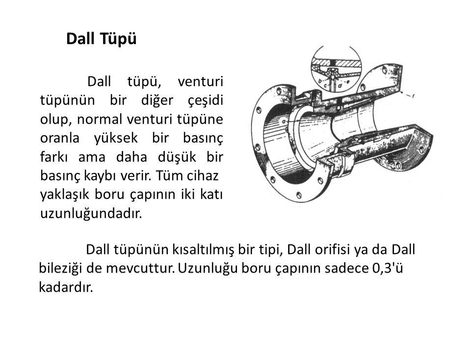 Dall Tüpü Dall tüpü, venturi tüpünün bir diğer çeşidi olup, normal venturi tüpüne oranla yüksek bir basınç farkı ama daha düşük bir basınç kaybı verir.