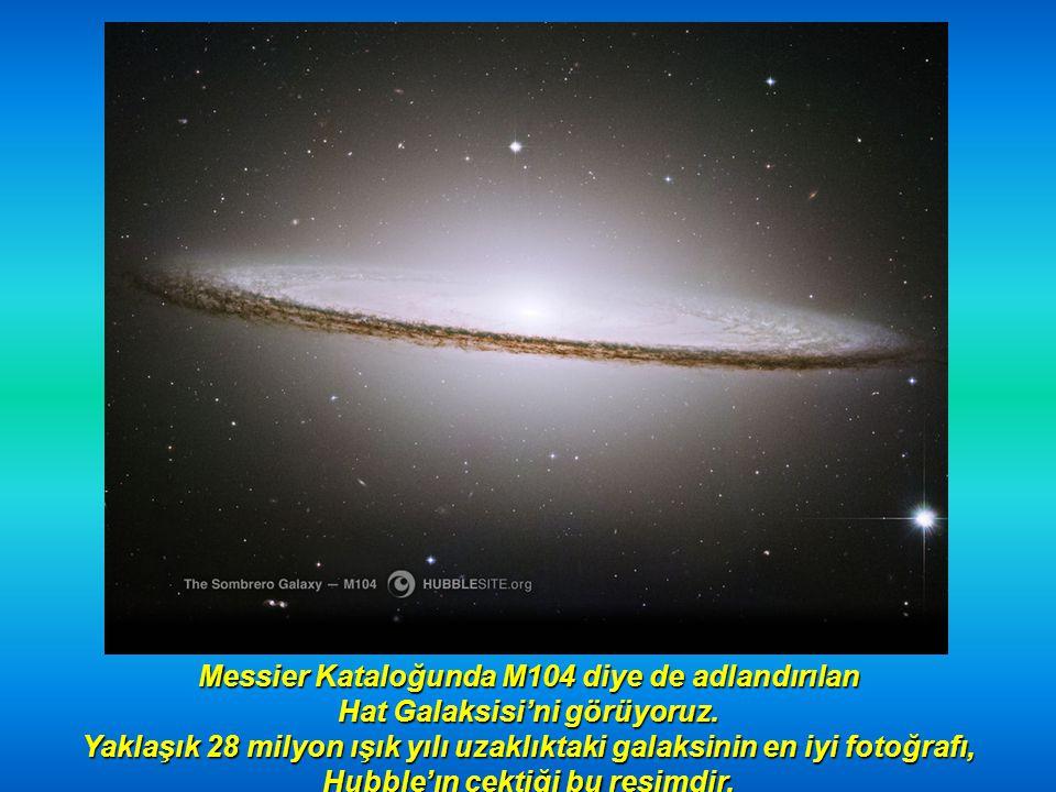 Messier Kataloğunda M104 diye de adlandırılan Hat Galaksisi'ni görüyoruz.