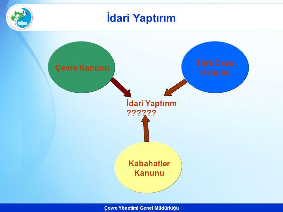 Çevre Yönetimi Genel Müdürlüğü Kabahatler Kanunu Türk Ceza Kanunu Çevre Kanunu İdari Yaptırım ??????