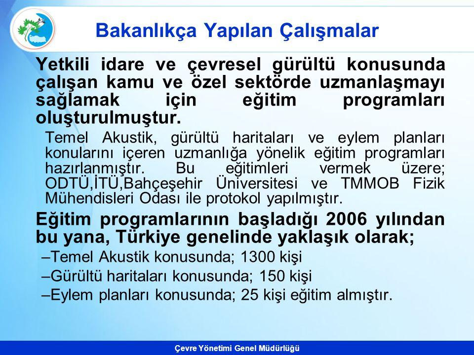 Çevre Yönetimi Genel Müdürlüğü Bakanlıkça Yapılan Çalışmalar Yetkili idare ve çevresel gürültü konusunda çalışan kamu ve özel sektörde uzmanlaşmayı sa