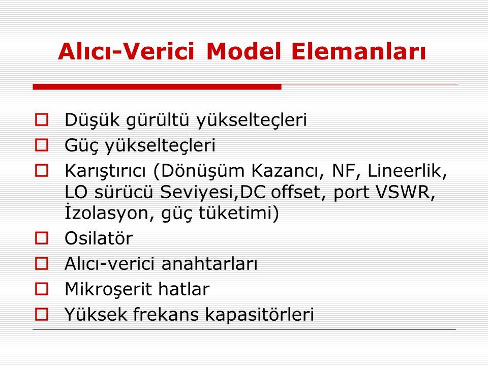 Alıcı-Verici Model Elemanları  Düşük gürültü yükselteçleri  Güç yükselteçleri  Karıştırıcı (Dönüşüm Kazancı, NF, Lineerlik, LO sürücü Seviyesi,DC o