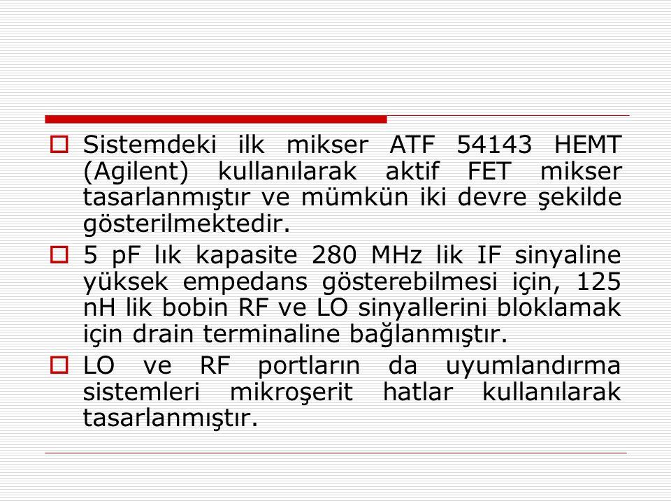  Sistemdeki ilk mikser ATF 54143 HEMT (Agilent) kullanılarak aktif FET mikser tasarlanmıştır ve mümkün iki devre şekilde gösterilmektedir.  5 pF lık