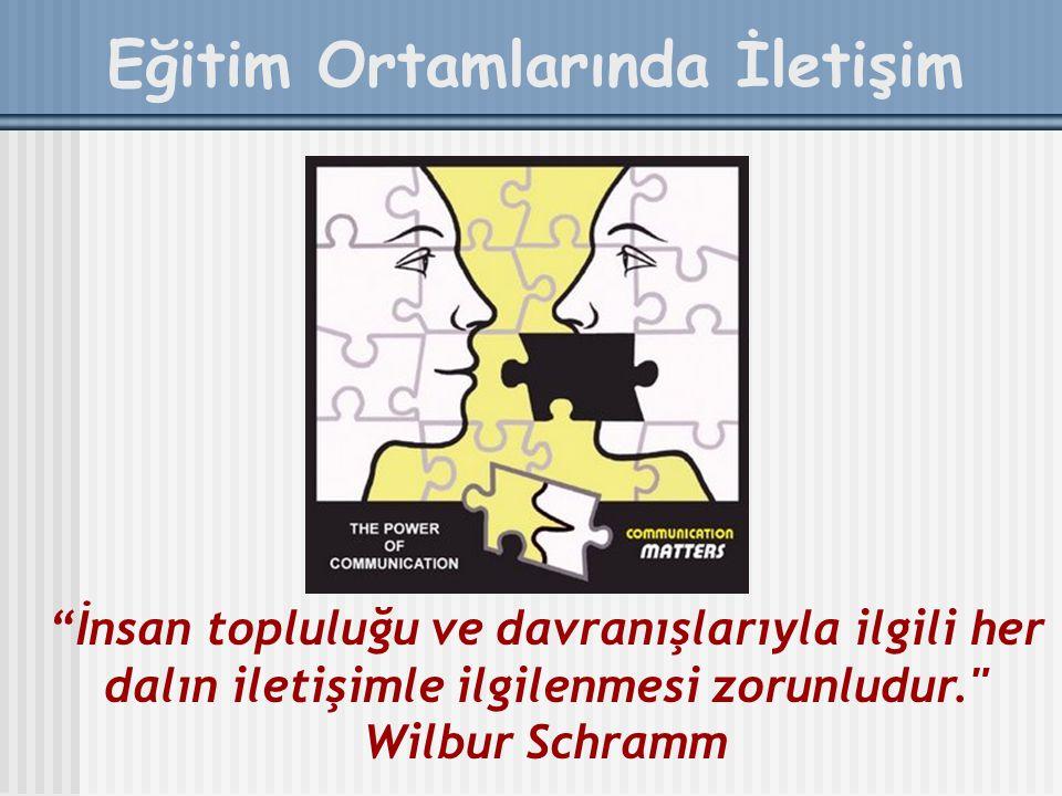 Eğitim Ortamlarında İletişim İnsan topluluğu ve davranışlarıyla ilgili her dalın iletişimle ilgilenmesi zorunludur. Wilbur Schramm