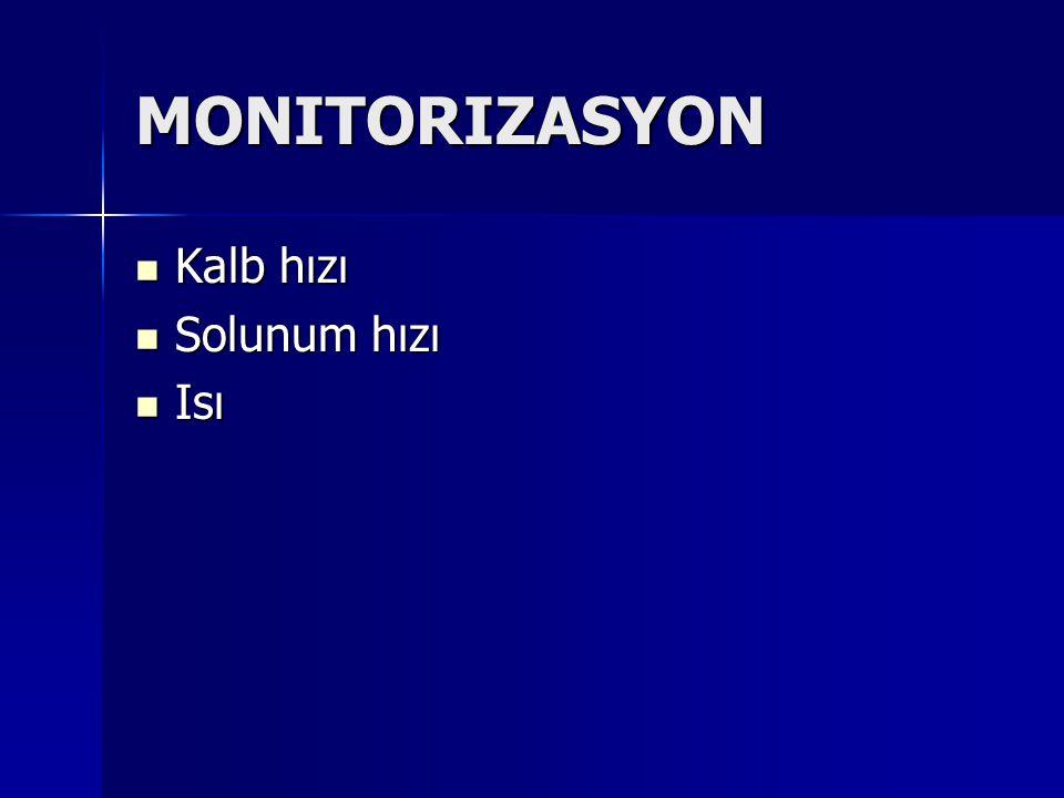 MONITORIZASYON Kalb hızı Kalb hızı Solunum hızı Solunum hızı Isı Isı