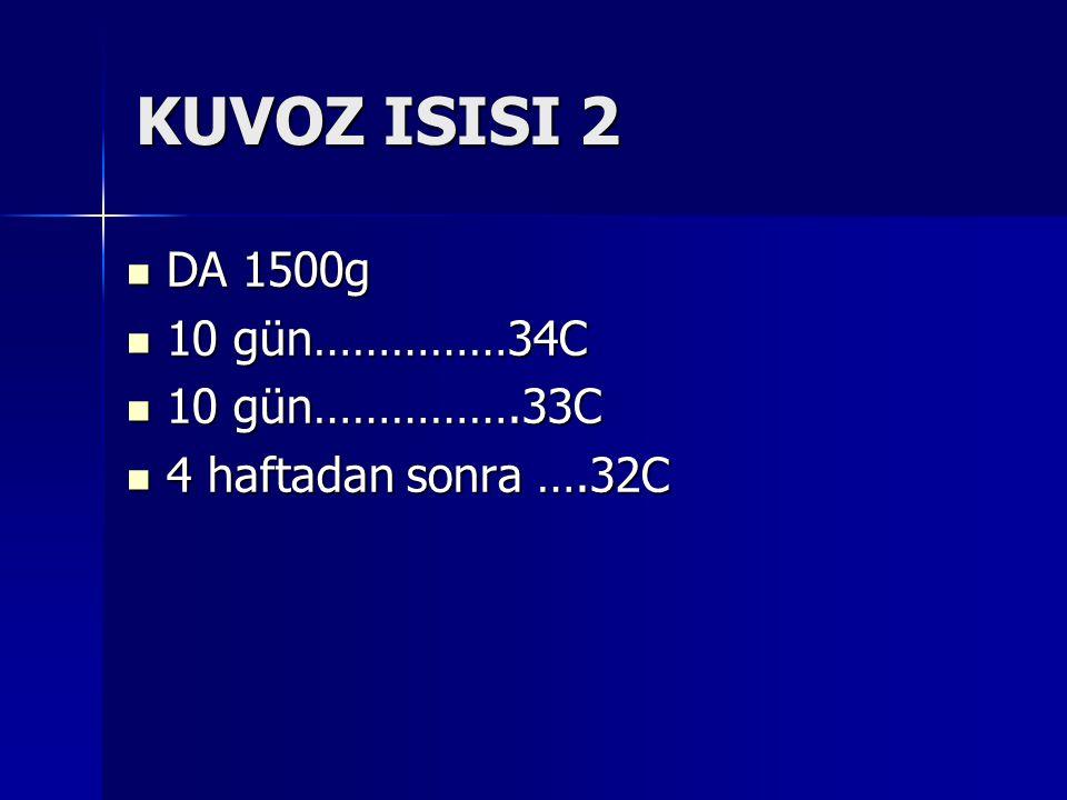 KUVOZ ISISI 2 DA 1500g DA 1500g 10 gün……………34C 10 gün……………34C 10 gün…………….33C 10 gün…………….33C 4 haftadan sonra ….32C 4 haftadan sonra ….32C