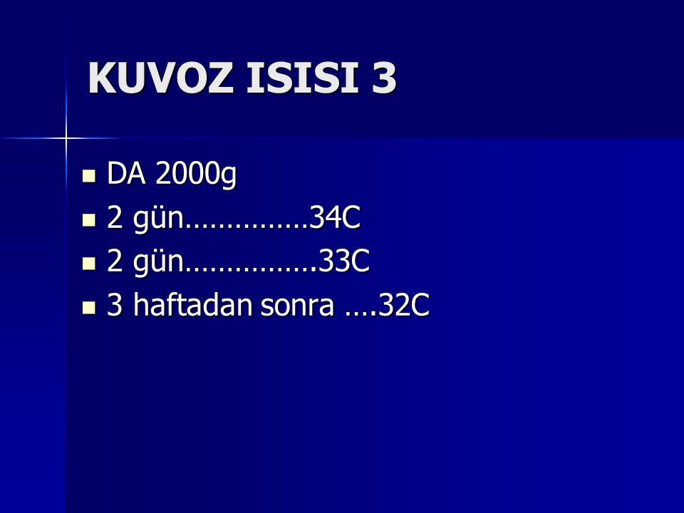 KUVOZ ISISI 3 DA 2000g DA 2000g 2 gün……………34C 2 gün……………34C 2 gün…………….33C 2 gün…………….33C 3 haftadan sonra ….32C 3 haftadan sonra ….32C