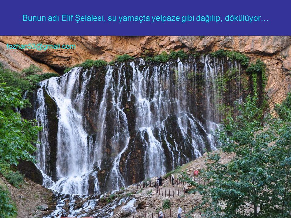 Bunun adı Elif Şelalesi, su yamaçta yelpaze gibi dağılıp, dökülüyor… fozhan53@gmail.com
