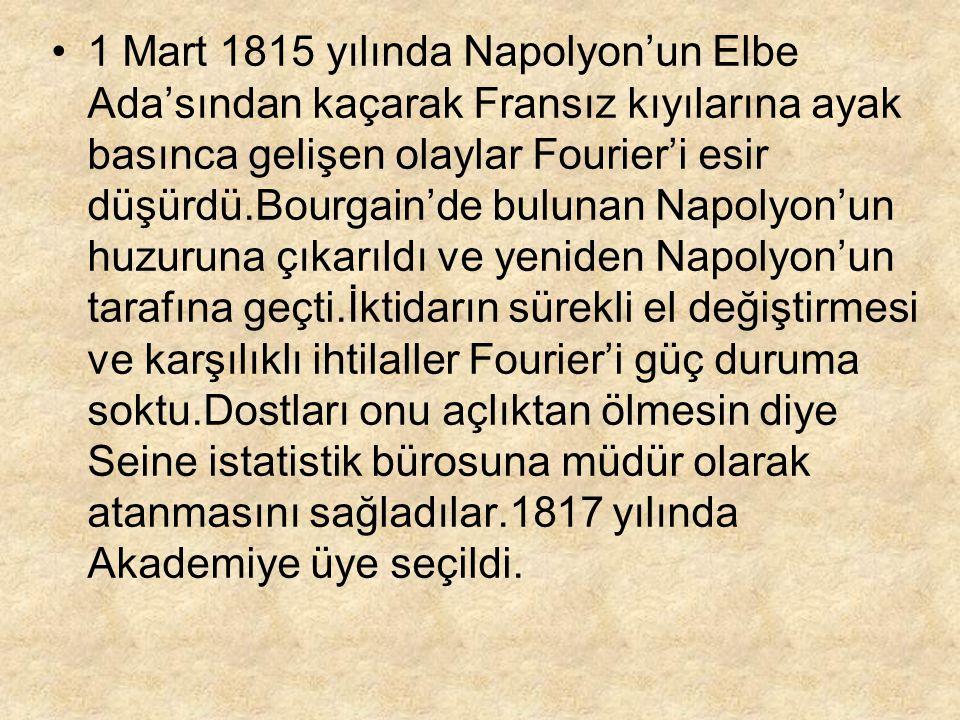 1 Mart 1815 yılında Napolyon'un Elbe Ada'sından kaçarak Fransız kıyılarına ayak basınca gelişen olaylar Fourier'i esir düşürdü.Bourgain'de bulunan Nap