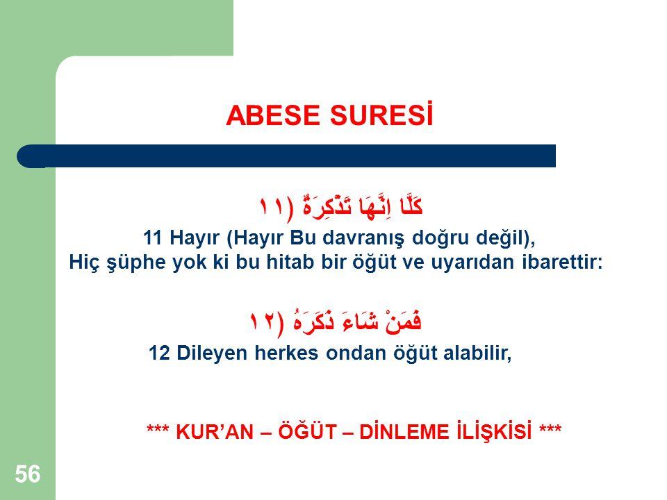 57 ABESE SURESİ Kur'an – Öğüt – Dinleme İlişkisi: Kur'an Ayetleri Birer Öğüttür.