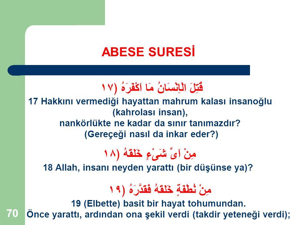 71 ABESE SURESİ Nankör İnsan Tipi; Allah'ın bu tip'e hitabı; ''Kahrolası İnsan''.