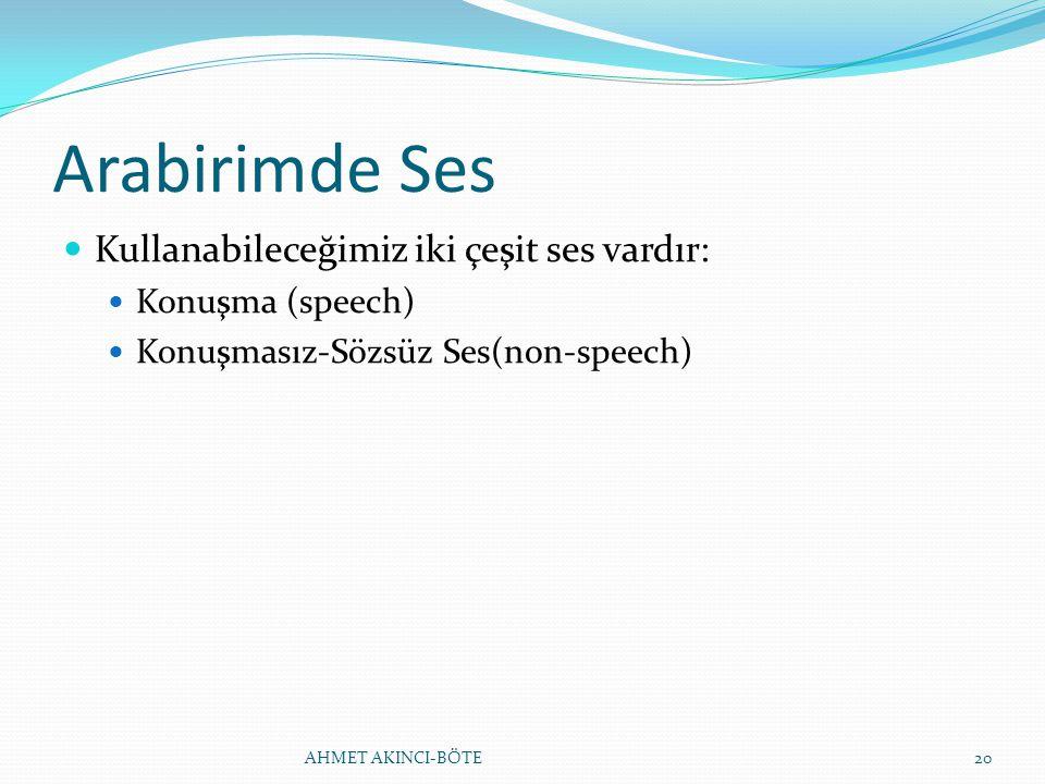 Arabirimde Ses Kullanabileceğimiz iki çeşit ses vardır: Konuşma (speech) Konuşmasız-Sözsüz Ses(non-speech) AHMET AKINCI-BÖTE20
