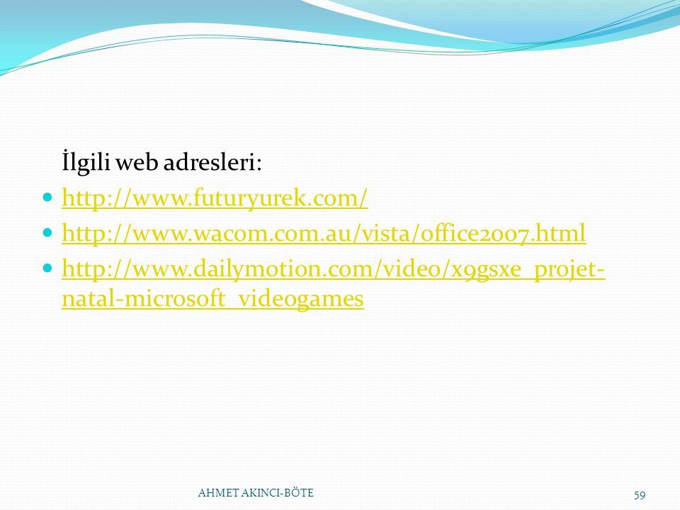 İlgili web adresleri: http://www.futuryurek.com/ http://www.wacom.com.au/vista/office2007.html http://www.dailymotion.com/video/x9gsxe_projet- natal-m