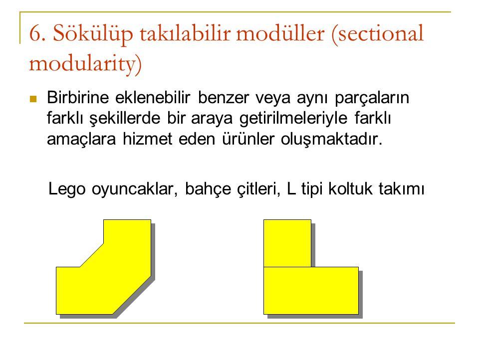 6. Sökülüp takılabilir modüller (sectional modularity) Birbirine eklenebilir benzer veya aynı parçaların farklı şekillerde bir araya getirilmeleriyle