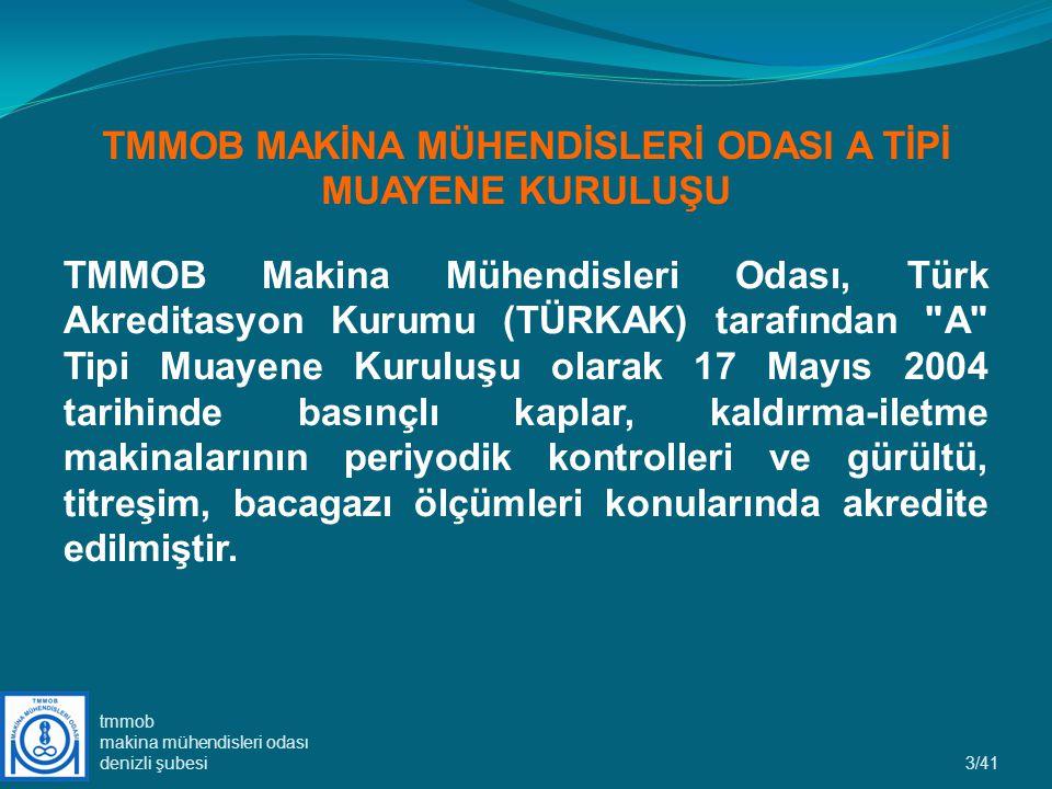 TMMOB MAKİNA MÜHENDİSLERİ ODASI A TİPİ MUAYENE KURULUŞU TMMOB Makina Mühendisleri Odası, Türk Akreditasyon Kurumu (TÜRKAK) tarafından