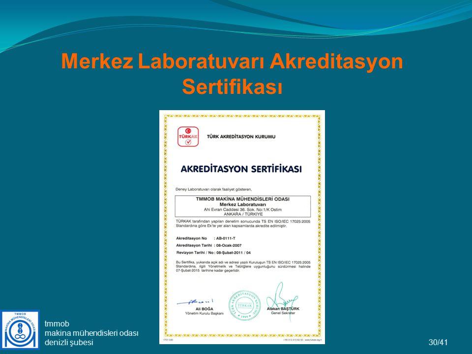 Merkez Laboratuvarı Akreditasyon Sertifikası 30/41 tmmob makina mühendisleri odası denizli şubesi