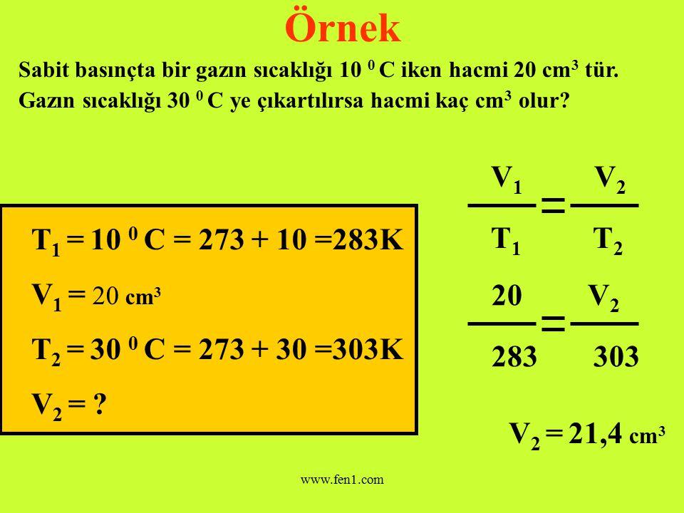www.fen1.com Hacim-Sıcaklık Basınç İlişki; V 1 V 2 T 1 T 2 Yukarıdaki ifade aynı zamanda Gay Lussac veya Charles Kanunu olarak bilinir