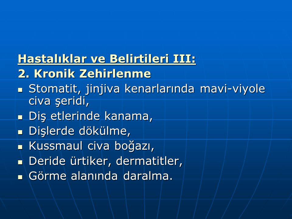 Hastalıklar ve Belirtileri III: 2. Kronik Zehirlenme Stomatit, jinjiva kenarlarında mavi-viyole civa şeridi, Stomatit, jinjiva kenarlarında mavi-viyol