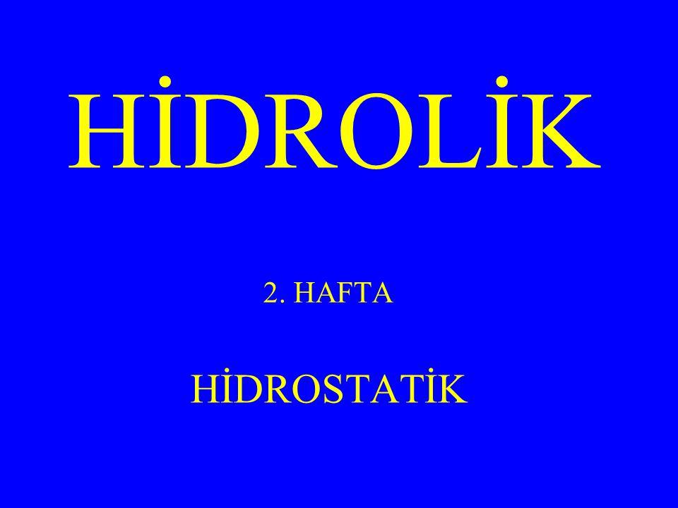 HİDROLİK 2. HAFTA HİDROSTATİK