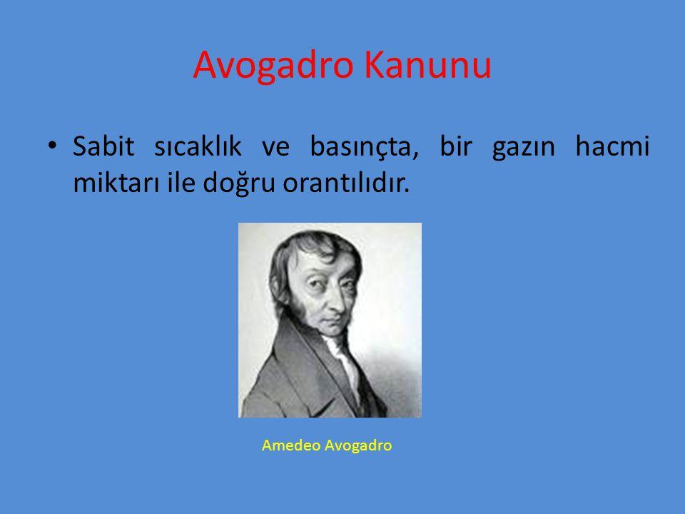 Avogadro Kanunu Sabit sıcaklık ve basınçta, bir gazın hacmi miktarı ile doğru orantılıdır. Amedeo Avogadro