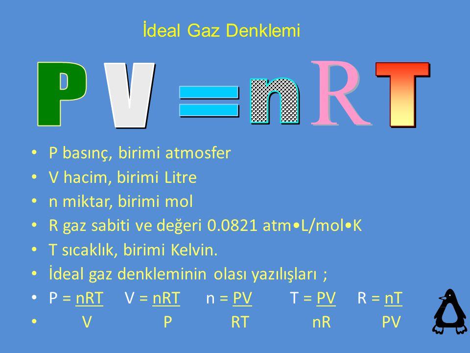 P basınç, birimi atmosfer V hacim, birimi Litre n miktar, birimi mol R gaz sabiti ve değeri 0.0821 atmL/molK T sıcaklık, birimi Kelvin. İdeal gaz denk
