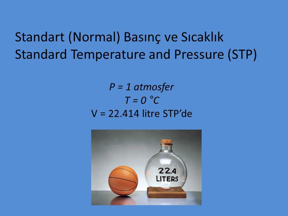 Standart (Normal) Basınç ve Sıcaklık Standard Temperature and Pressure (STP) P = 1 atmosfer T = 0 °C V = 22.414 litre STP'de