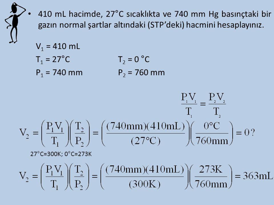 410 mL hacimde, 27°C sıcaklıkta ve 740 mm Hg basınçtaki bir gazın normal şartlar altındaki (STP'deki) hacmini hesaplayınız. V 1 = 410 mL T 1 = 27°CT 2
