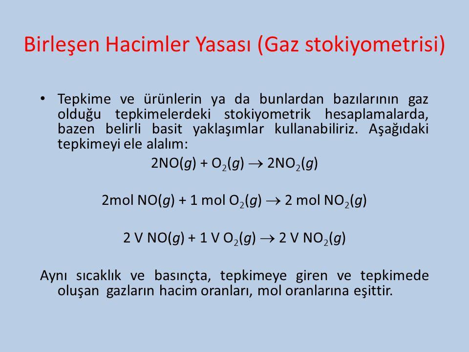 Birleşen Hacimler Yasası (Gaz stokiyometrisi) Tepkime ve ürünlerin ya da bunlardan bazılarının gaz olduğu tepkimelerdeki stokiyometrik hesaplamalarda,