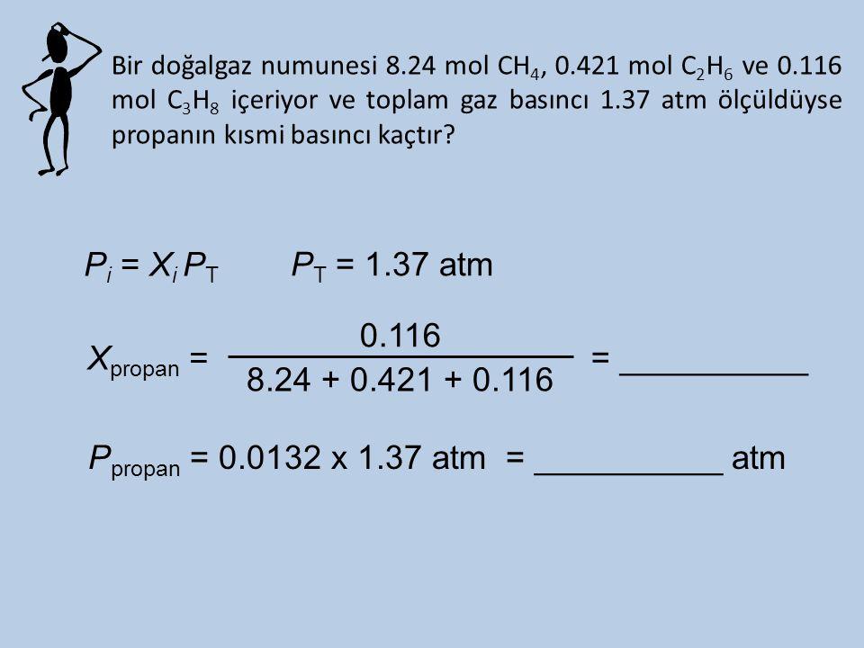 Bir doğalgaz numunesi 8.24 mol CH 4, 0.421 mol C 2 H 6 ve 0.116 mol C 3 H 8 içeriyor ve toplam gaz basıncı 1.37 atm ölçüldüyse propanın kısmi basıncı kaçtır.