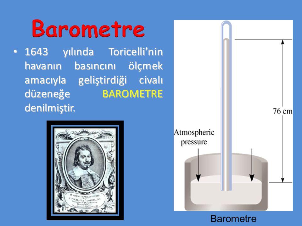 1643 yılında Toricelli'nin havanın basıncını ölçmek amacıyla geliştirdiği civalı düzeneğe BAROMETRE denilmiştir. 1643 yılında Toricelli'nin havanın ba