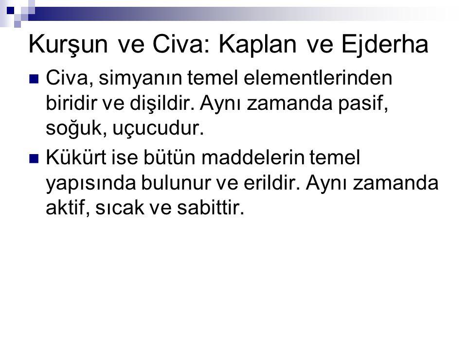 Kurşun ve Civa: Kaplan ve Ejderha Civa, simyanın temel elementlerinden biridir ve dişildir. Aynı zamanda pasif, soğuk, uçucudur. Kükürt ise bütün madd