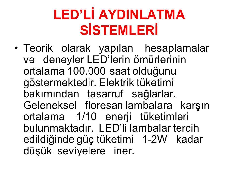 LED'Lİ AYDINLATMA SİSTEMLERİ Teorik olarak yapılan hesaplamalar ve deneyler LED'lerinömürlerinin ortalama 100.000saat olduğunu göstermektedir. Elektri